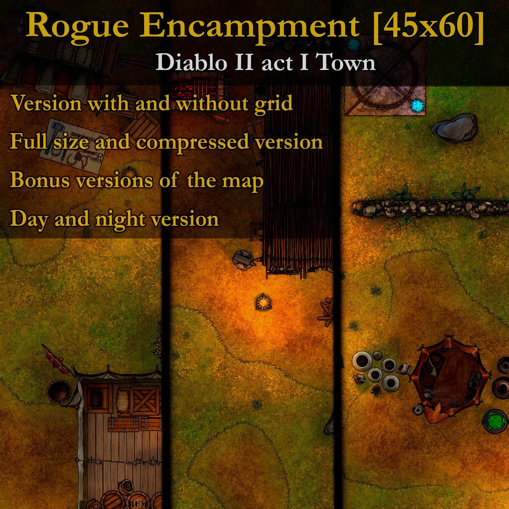 Rogue Encampment (Diablo II) [45x60] – Large detailed map ready to play
