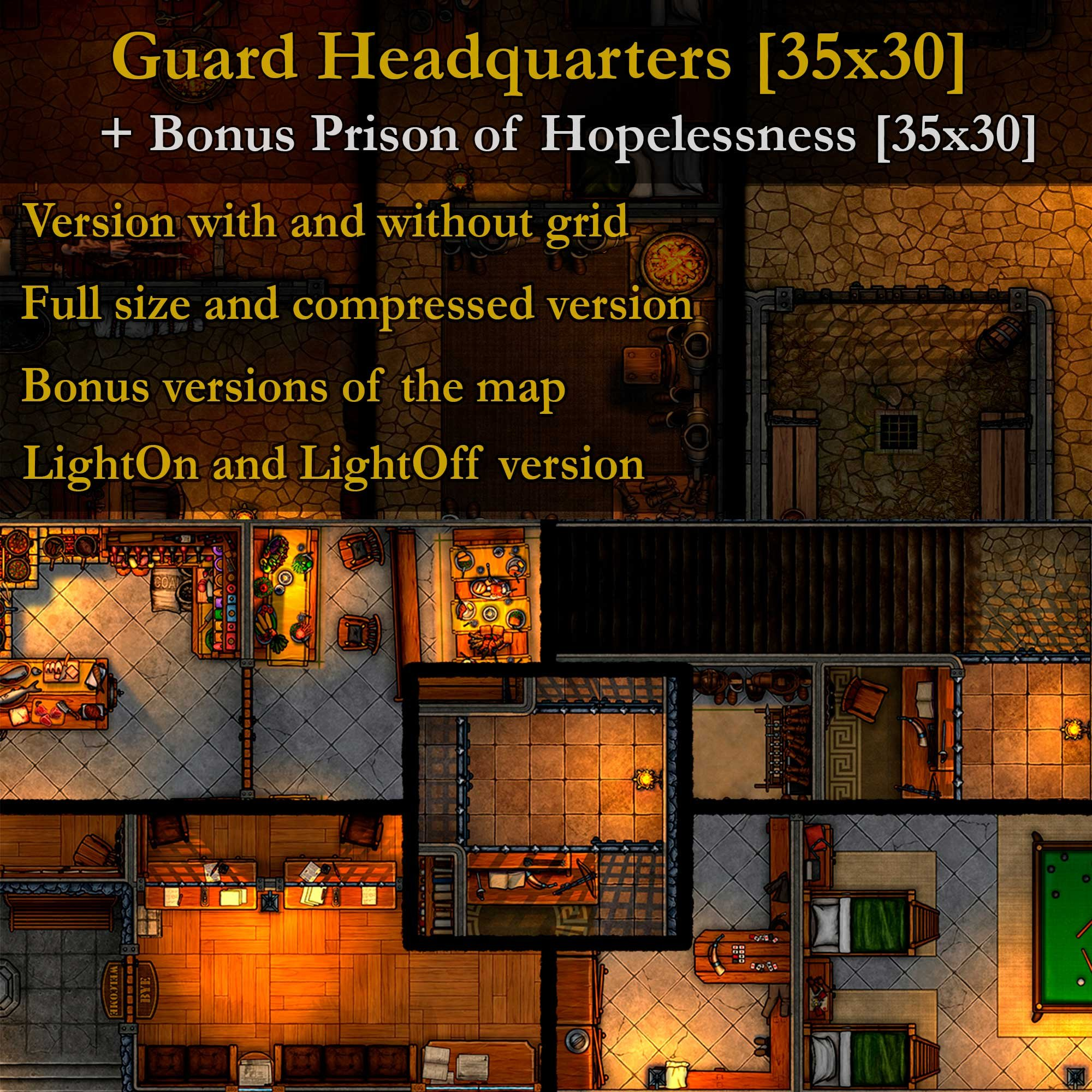 The headquarters of the guards and the prison of hopelessness. Two large maps linked together.
